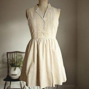 1/4  Vintage Style Tan Polka Dot Summer Dress Size